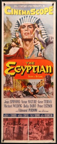 4f075 EGYPTIAN insert 1954 Michael Curtiz, art of Jean Simmons, Victor Mature & Gene Tierney!