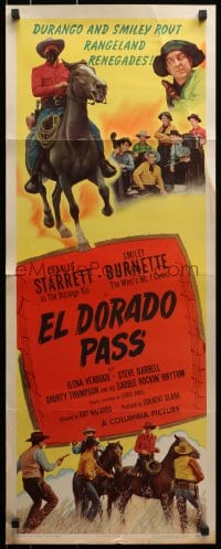 4f076 EL DORADO PASS insert 1948 art of Charles Starrett as The Durango Kid + Smiley Burnette!
