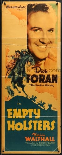 4f079 EMPTY HOLSTERS insert 1937 great close up of cowboy Dick Foran and on horse with Walthall!