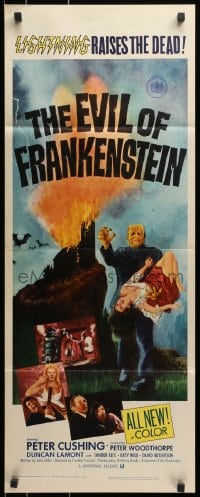 4f080 EVIL OF FRANKENSTEIN insert 1964 Peter Cushing, Hammer, he's back and no one can stop him!