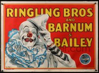 4g001 RINGLING BROS & BARNUM & BAILEY 21x28 circus poster 1945 Bill Bailey art of clown!