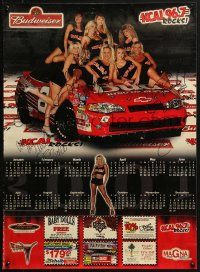 4g010 KCAL 96.7 signed calendar 2001 incredibly sexy women on top of stock car!