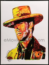 4g029 CLINT EASTWOOD signed #16/100 18x24 art print 2014 by artist Greg Sellars, cool artwork!