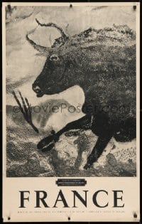 4g019 FRANCE 25x39 French travel poster 1950s artwork of a running bull by Windels, Lascaux!
