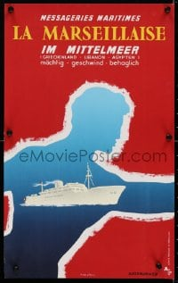 4g022 MESSAGERIES MARITIMES 12x20 French travel poster 1956 Marseillaise Mittelmeer by Glenisson!