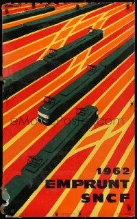 4g025 SNCF LAMINATED 24x39 French travel poster 1962 colorful railroad train artwork by Villemot!
