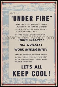 4g004 UNDER FIRE 25x38 WWII war poster 1944 under trying wartime conditions let's all keep cool!