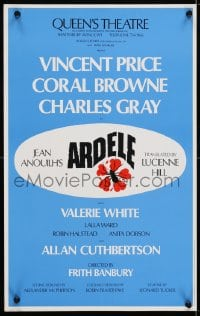 4g064 ARDELE stage play English WC 1975 Vincent Price & Carol Browne at the Queen's Theatre!