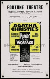 4g080 MURDER AT THE VICARAGE stage play English WC 1976 play based on the novel by Agatha Christie!