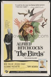 4h205 BIRDS linen 1sh 1963 Alfred Hitchcock shown, Tippi Hedren, classic intense attack artwork!