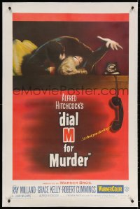 4h235 DIAL M FOR MURDER linen 1sh 1954 Alfred Hitchcock, attacked Grace Kelly reaches for phone!