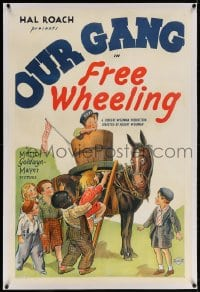 4h253 FREE WHEELING linen 1sh 1932 cool stone litho of Spanky & Our Gang kids by Stymie's taxi mule!