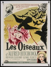 4h055 BIRDS linen French 22x30 1963 Grinsson art of Alfred Hitchcock, Hedren & Tandy attacked, rare!