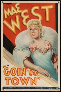 4h261 GOIN' TO TOWN linen 1sh 1935 great art of sexy Mae West wearing fur, ultra rare!