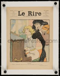 4h110 LE RIRE linen French magazine cover November 1, 1902 art of man playing violin by woman at piano!