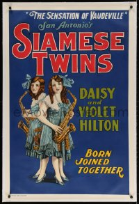 4h121 SIAMESE TWINS linen 28x42 stage poster 1930s San Antonio's Daisy & Violet Hilton play the sax!