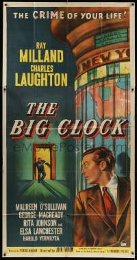 4j003 BIG CLOCK 3sh 1948 Ray Milland in the most savage manhunt in history, different art, rare!