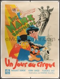 4j107 AT THE CIRCUS linen French 1p 1949 Poissonnie art of Groucho, Chico & Harpo Marx, ultra rare!