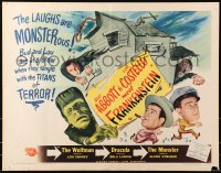 4j056 ABBOTT & COSTELLO MEET FRANKENSTEIN style B 1/2sh 1948 the Wolfman & Dracula after Bud & Lou!
