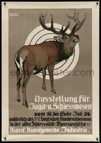 4j035 AUSSTELLUNG FUR JAGD-U SCHIESSWESEN 32x46 German art exhibition 1906 Hohlwein art, 2nd poster!