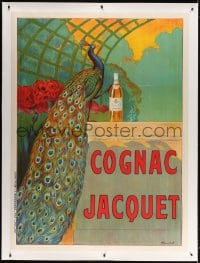 4j228 COGNAC JACQUET linen 46x63 French advertising poster 1900s Camille Bouchet art of peacock!