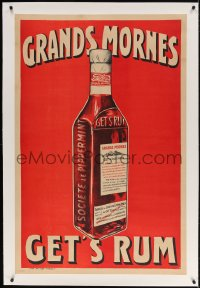 4j232 GRANDS MORNES GET'S RUM linen 31x46 French advertising poster 1900s art of liquor bottle!