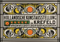 4j036 HOLLANDISCHE KUNSTAUSSTELLUNG 34x48 German art exhibition poster 1903 wonderful Prikker art!