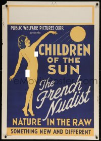 4k015 CHILDREN OF THE SUN 1sh 1934 art of French Nudist, nature in the raw, new & different!