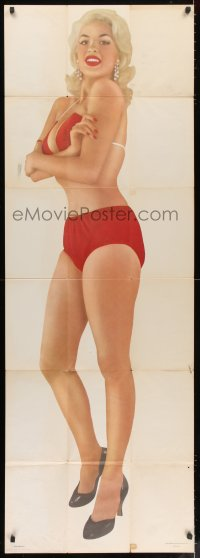 4k127 JAYNE MANSFIELD 22x62 commercial poster 1950s sexy image of the busty star in skimpy bikini!