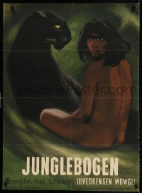 4k055 JUNGLE BOOK Danish 1946 best art of Mowgli & Bagheera the panther by Aage Sikker-Hansen!