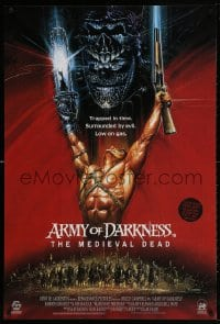 4k026 ARMY OF DARKNESS DS English 1sh 1993 Raimi, Casaro art of Campbell, The Medieval Dead, rare!