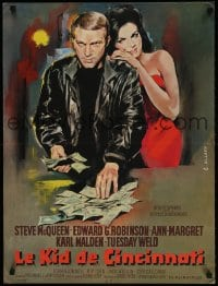 4k047 CINCINNATI KID French 23x30 1966 Allard art of poker pro Steve McQueen & sexy Ann-Margret!