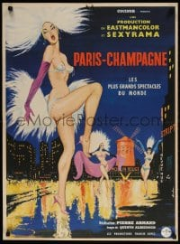 4k048 PARIS-CHAMPAGNE French 23x32 1962 Sinclare art of sexy near-naked Moulin Rouge showgirls!