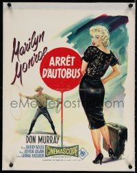 4k034 BUS STOP French 18x22 1956 Geleng art of Don Murray w/lasso & sexy Marilyn Monroe, rare!