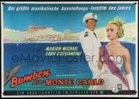 4k111 BOMBS ON MONTE CARLO German 33x47 1960 KHF art of sexy Marion Michael & Constantine, rare!