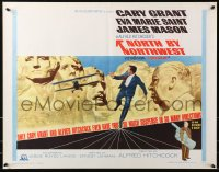 4k022 NORTH BY NORTHWEST 1/2sh R1966 Cary Grant chased by cropduster by Mt. Rushmore, Hitchcock!
