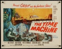 4k024 TIME MACHINE style B 1/2sh 1960 H.G. Wells, George Pal, different Reynold Brown sci-fi art!