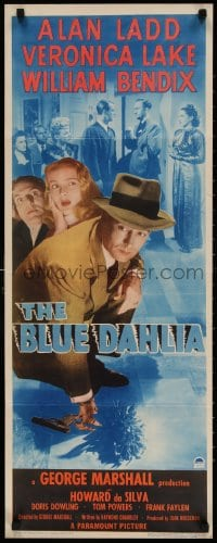 4k142 BLUE DAHLIA insert 1946 Alan Ladd, sexy Veronica Lake, William Bendix, different & rare!