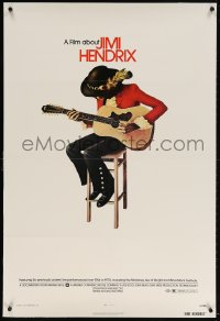 4k017 JIMI HENDRIX 1sh 1974 great art of the rock & roll legend playing guitar on chair!
