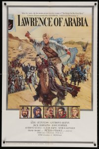 4k138 LAWRENCE OF ARABIA pre-awards 1sh 1963 David Lean, Terpning art of Peter O'Toole on camel!