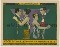 4k195 ADAM'S RIB LC 1923 Cecil B DeMille, two couples decopaged against Art Nouveau background!