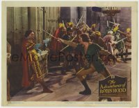 4k196 ADVENTURES OF ROBIN HOOD LC R1945 Errol Flynn & Basil Rathbone duelling at film's climax!