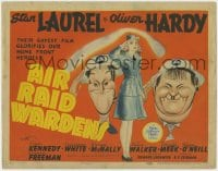 4k149 AIR RAID WARDENS TC 1943 great Al Hirschfeld art of Oliver Hardy & Stan Laurel, very rare!