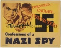 4k222 CONFESSIONS OF A NAZI SPY LC 1939 cool image of giant Edward G. Robinson grabbing tiny Nazis!