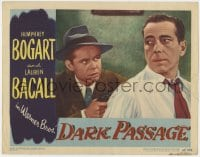 4k226 DARK PASSAGE LC #3 1947 c/u of Humphrey Bogart held at gunpoint by Clifton Young, film noir!