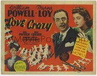 4k169 LOVE CRAZY TC 1941 wacky William Powell held by Myrna Loy & masquerading as his own sister!
