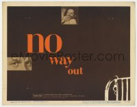 4k173 NO WAY OUT TC 1950 Widmark's eyes & terrified Linda Darnell, great design by Eric Nitsche!