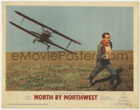 4k285 NORTH BY NORTHWEST LC #2 1959 Hitchcock, classic c/u of Cary Grant chased by crop duster!