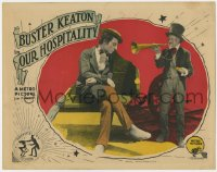 4k288 OUR HOSPITALITY LC 1923 great c/u of old man yelling at Buster Keaton through bugle, rare!