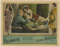 4k291 PAJAMAS LC 1927 spoiled heiress Olive Borden on her father's desk in office, very rare!